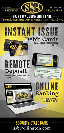 Ad for products offfered by Security State Bank. Instant Issue Debit Cards, Remote Deposit, and Online Banking.